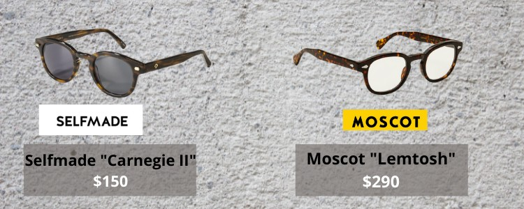 Price comparison between selfmade and moscot