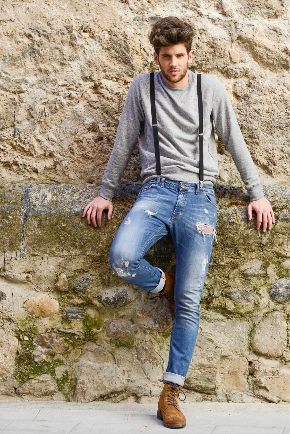 Suspenders with Stone Washed Jeans