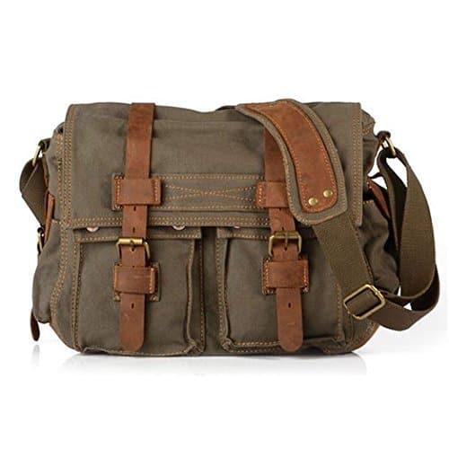 canvas leather messenger bag for men