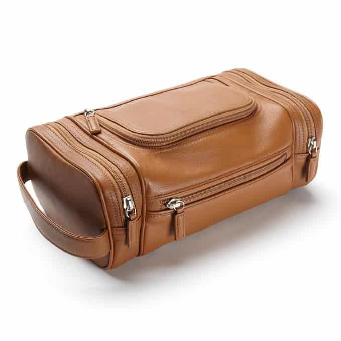 Brown leather shaving bag for men