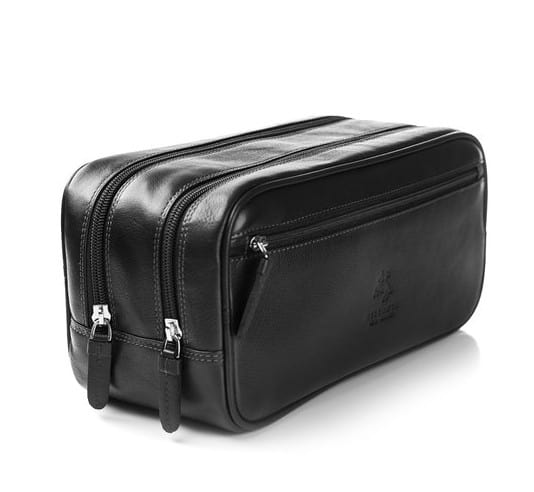 Classic leather wash bag for men