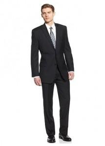 Calvin Klein Suit, Black Stripe Peak Lapel Slim Fit